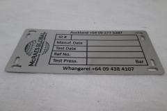 Cat 3.3 Laser engraved stainless label